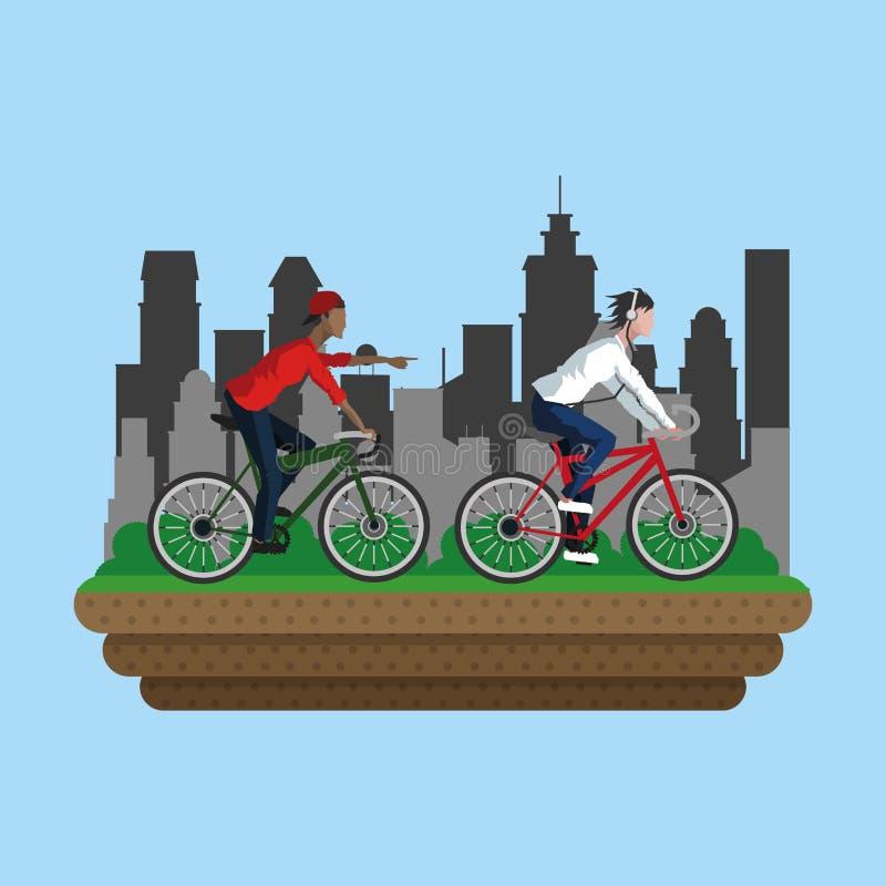 Folk på cykeln i staden royaltyfri illustrationer