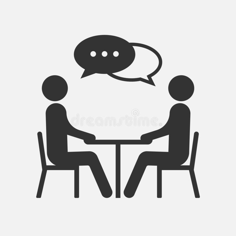 Folk på en tabell som talar, symbol som isoleras på vit bakgrund också vektor för coreldrawillustration royaltyfri illustrationer