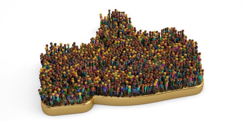 Folk på ett guld- som tecken illustration 3d stock illustrationer