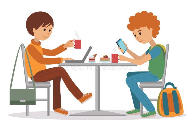 Folk på kafét och restaurangen Vektorillustration av kaffeavbrottet på vit bakgrund royaltyfri illustrationer