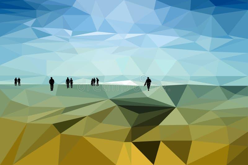Folk på kusten stock illustrationer