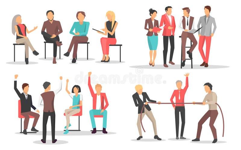Folk på kvalifikationen för affärsutbildningslönelyft royaltyfri illustrationer