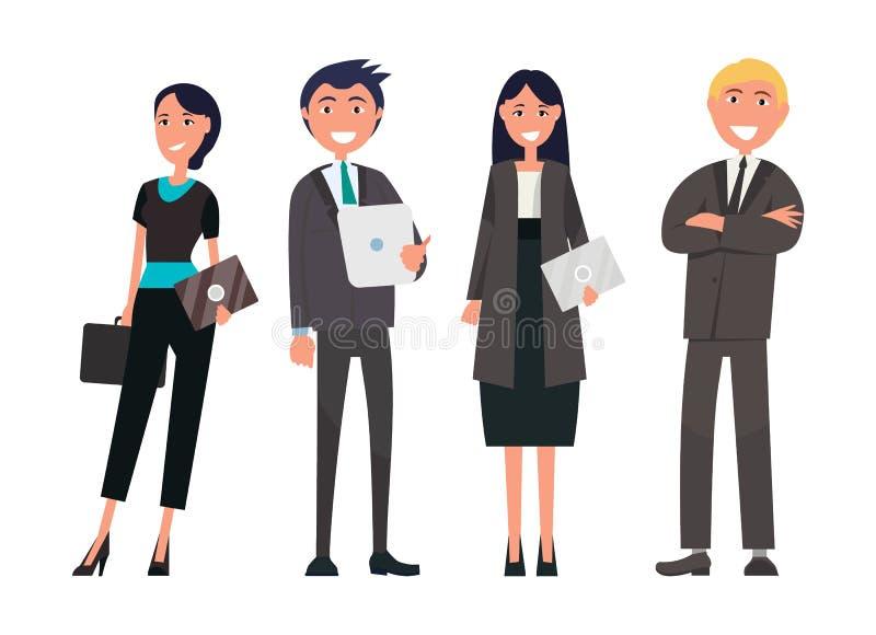 Folk på laget för vektor för affärsmöte det lyckade vektor illustrationer
