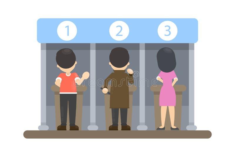 Folk på röstningbåset royaltyfri illustrationer