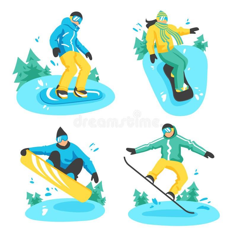 Folk på Snowboarddesignsammansättningar royaltyfri illustrationer