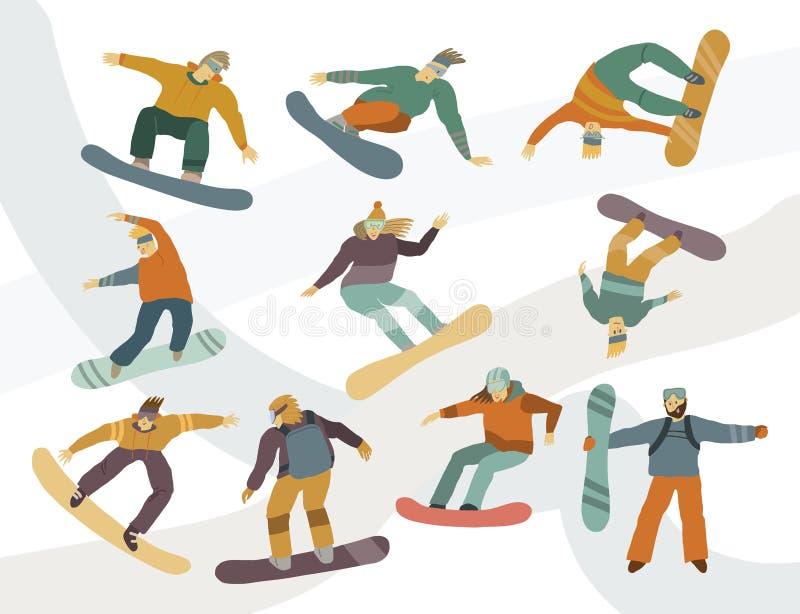 Folk p? snowboardsm?n och kvinnor i r?relse vektor illustrationer