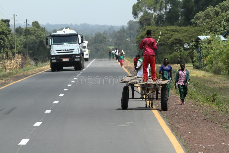 Folk på vägen och trafik i Etiopien royaltyfri bild