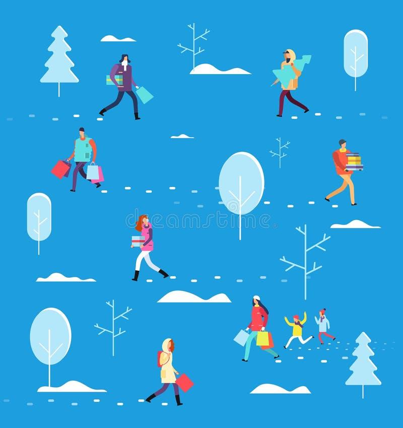 Folk på vinterferie För shoppingpåse för person bärande träd, gåva- och jul Begrepp för vektor för julhelgdagsafton stock illustrationer