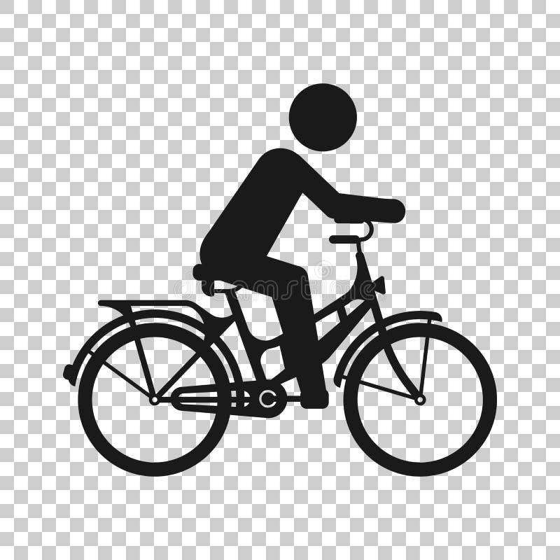Folk p? cykelteckensymbol i genomskinlig stil Cykelvektorillustration p? isolerad bakgrund M?n som cyklar aff?rsid? vektor illustrationer