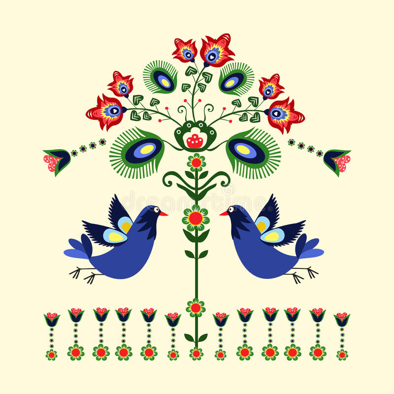 Folk pattern with birds vector illustration