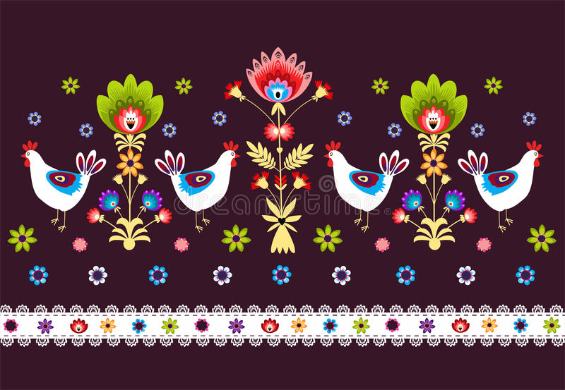 Download Folk Pattern With Birds - Dark Royalty Free Stock Images - Image: 34610419