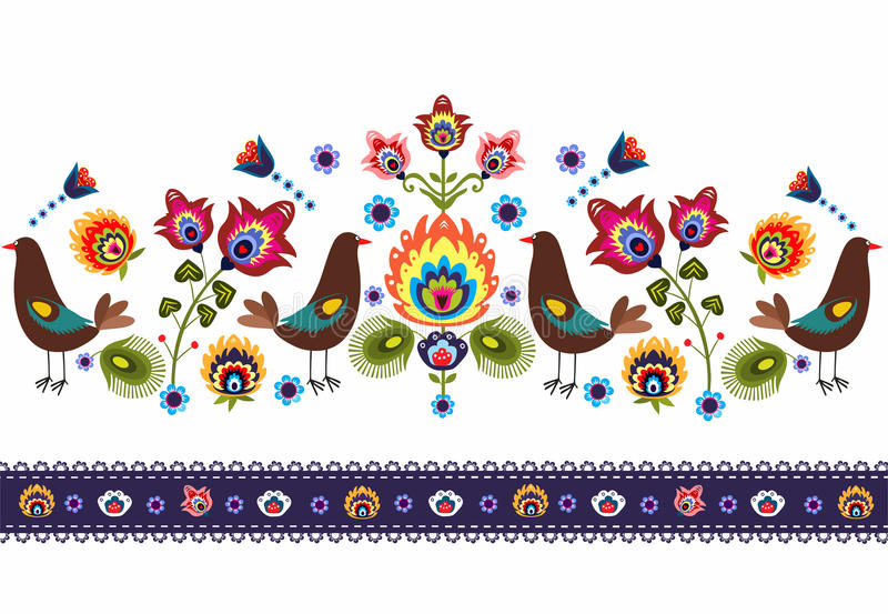 Folk Pattern With Birds stock illustration