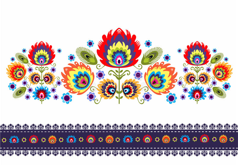 Folk Pattern With Flowers. Polish folk ornamental with floral royalty free illustration