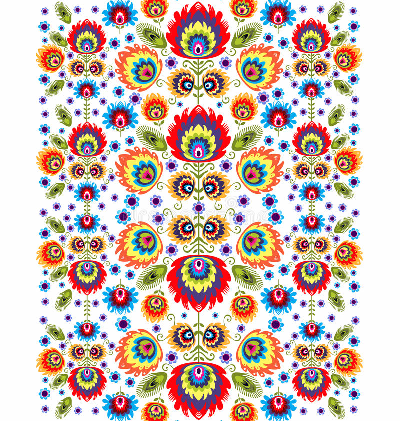 Folk Pattern With Flowers Three royalty free illustration