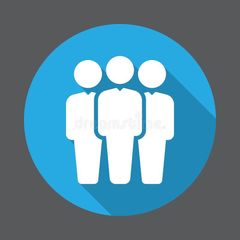 Folk plan symbol för grupp Rund färgrik knapp, runt vektortecken med lång skuggaeffekt vektor illustrationer