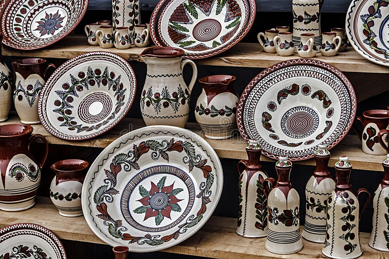 Folk pottery 5. Romanian traditional pottery in the form of plates, painted with specific reasons Corund area, Transylvania royalty free stock images