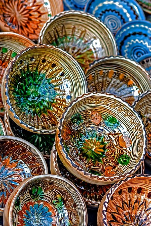 Folk pottery 8 stock images