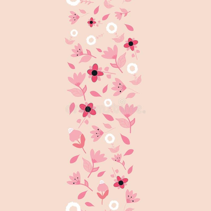 Folk röda rosa och vita blommor på seameless repetition för rosa gräns för bakgrund vertikal royaltyfri illustrationer
