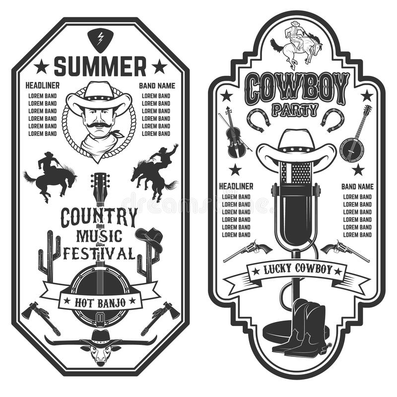 Folk rock party. Summer country music festival flyer template. royalty free illustration