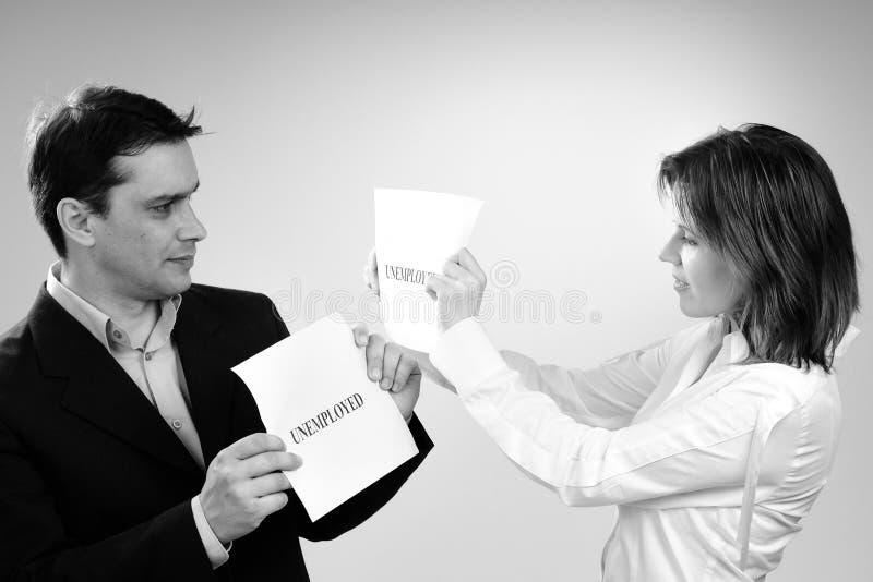 folk samma delande arbetslös för läge två arkivfoton