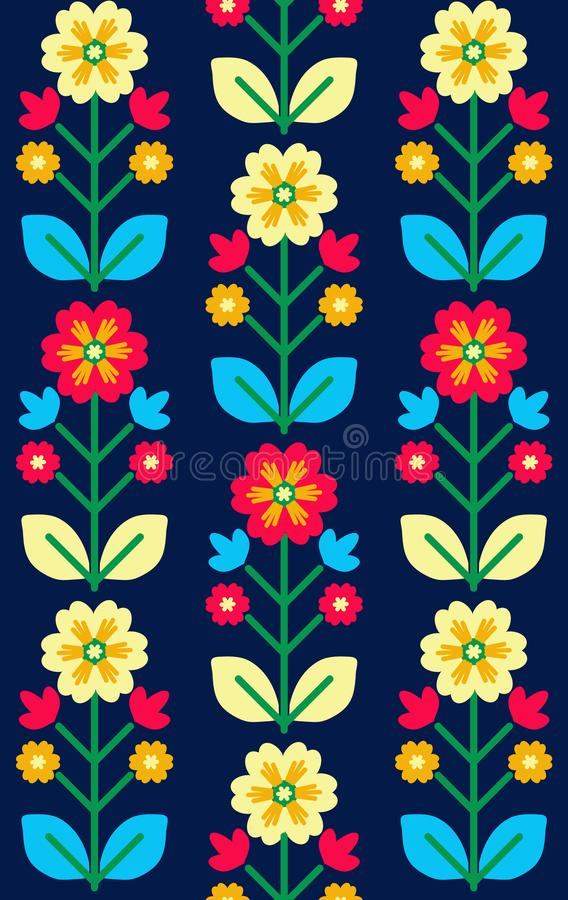 Retro, traditional floral ornament inspired by Ukrainian and Pol. Folk seamless pattern, Ukrainian and polish folk art design, retro floral background royalty free illustration