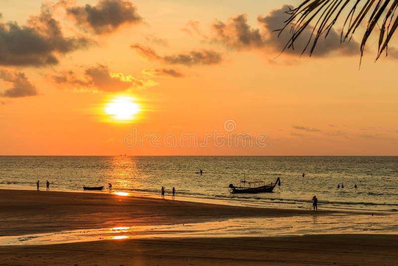Folk silhouetted på stranden royaltyfria bilder