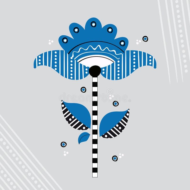 Folk skandinavisk blomma royaltyfri illustrationer