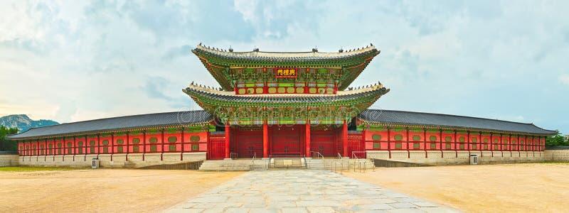 folk slott för national för gyeongbokgungkorea museum 30 ändrande för korea för guardsjuli konung söder pal s seoul panorama royaltyfri fotografi