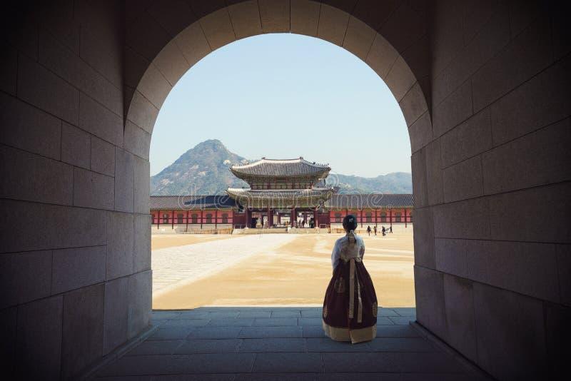 folk slott f?r national f?r gyeongbokgungkorea museum royaltyfri fotografi