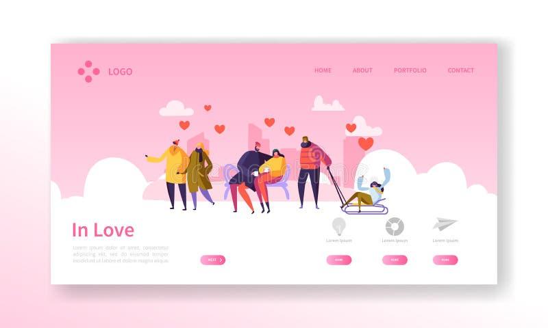 Folk som är förälskat på sidan för vintersäsonglandning Valentindagbaner med plana tecken och hjärtor tillgängligt formaterar båd stock illustrationer