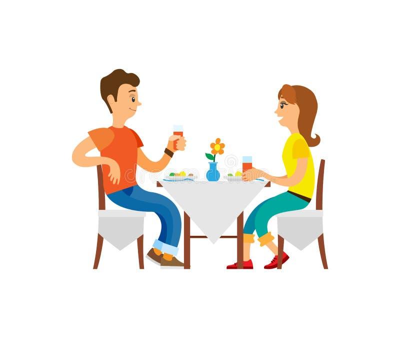 Folk som äter middag i restaurang, folk på semester royaltyfri illustrationer
