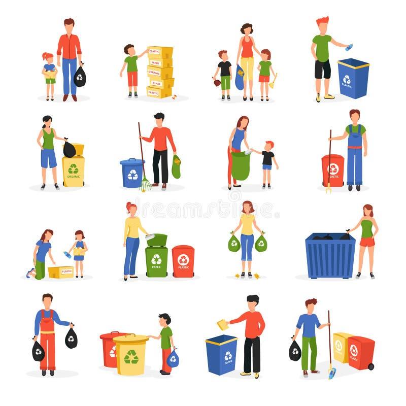 Folk som återanvänder den plana symbolssamlingen för avfalls royaltyfri illustrationer