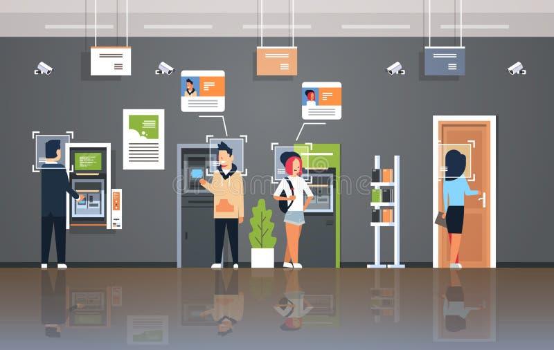 Folk som återtar kontoret för bank för ansikts- begrepp för erkännande för cctv för bevakning för ID för pengarATM-banko stock illustrationer