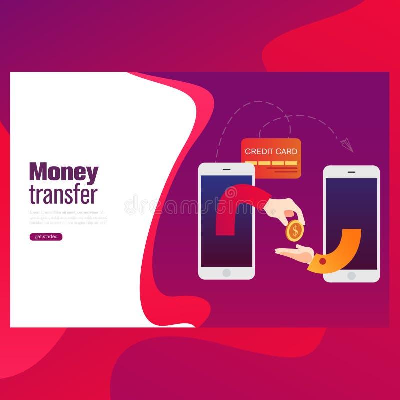 Folk som överför och mottar pengarradion med mobila enheter Plan illustration för stilbegreppsvektor vektor illustrationer
