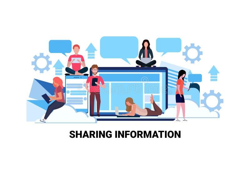 Folk som använder det sociala nätverket för internetgrejer som delar lägenheten för kommunikation för anslutning för informations royaltyfri illustrationer