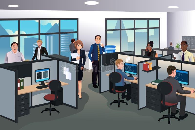 Folk som arbetar i kontoret stock illustrationer