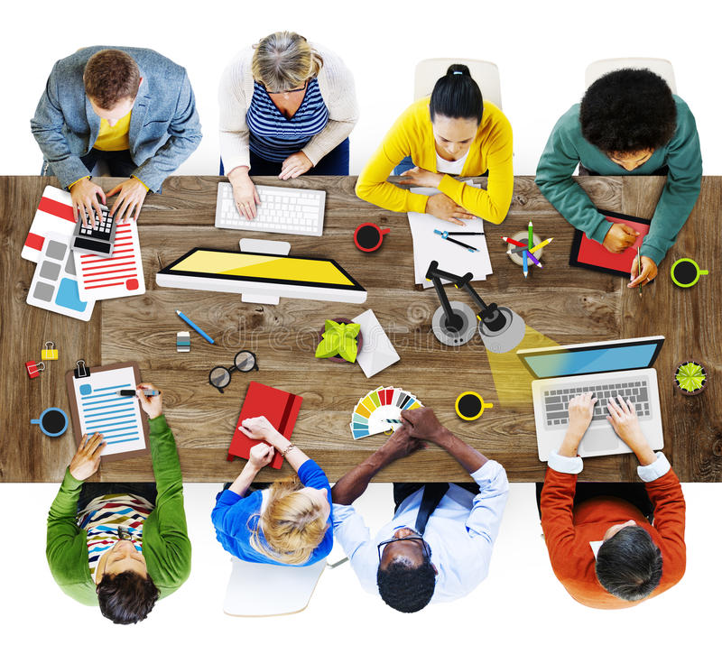 Folk som arbetar i kontorsfotoillustrationen fotografering för bildbyråer