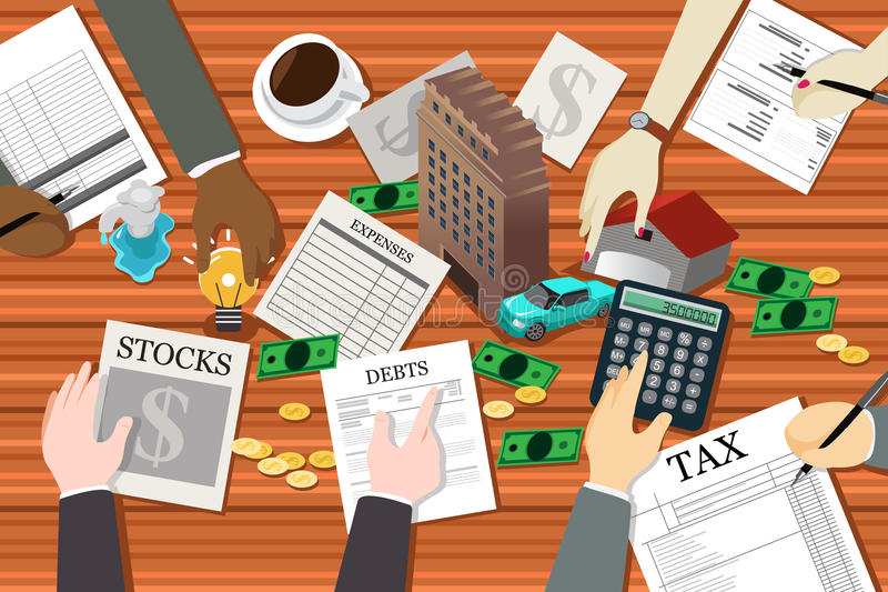 Folk som arbetar på finansiell planläggning vektor illustrationer