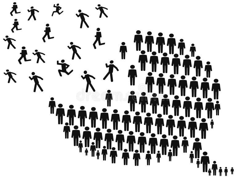 Folk som bildar anförandebubblan stock illustrationer