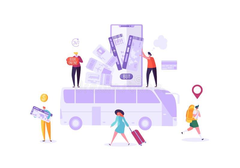 Folk som bokar bussbiljetter online-användande Smartphone Man- och kvinnatecken som planerar ferielopp vektor illustrationer