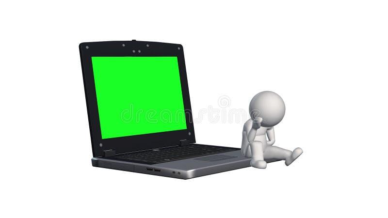 folk som 3D sitter på anteckningsboken med den gröna skärmen stock illustrationer