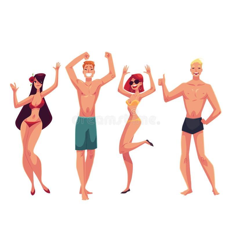 Folk som dansar på stranden i baddräkter och kortslutningar stock illustrationer