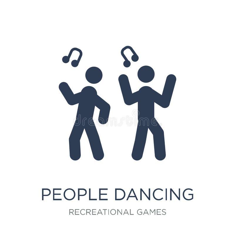 Folk som dansar symbolssymbolen Moderiktigt plant vektorfolk som dansar symbolen royaltyfri illustrationer