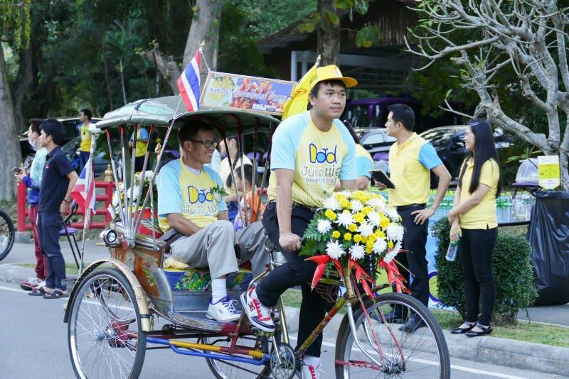 Folk som deltar i cykeln för farsaaktivitet royaltyfria foton