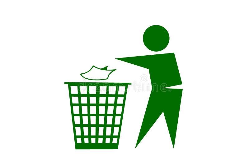 Folk som dumpar avfall på vit bakgrund arkivbild