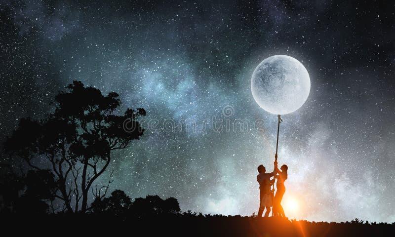 Folk som fångar månen royaltyfri illustrationer