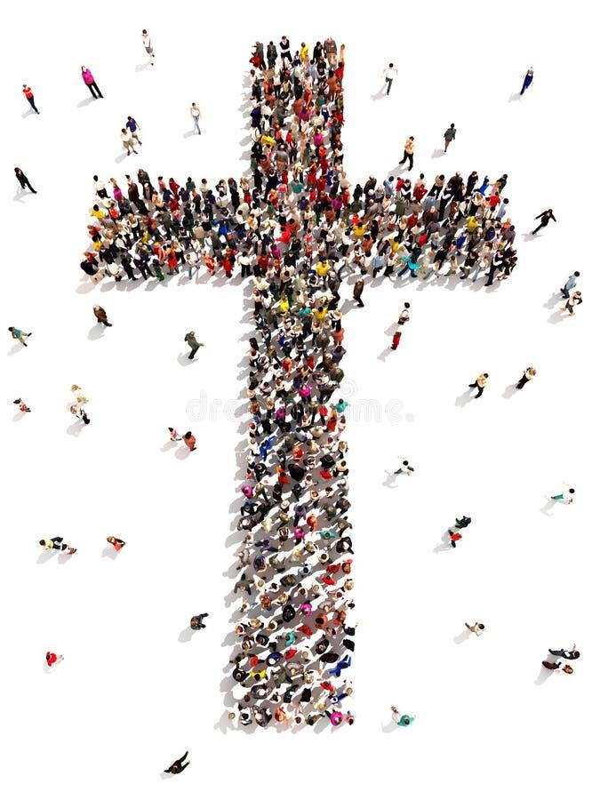 Folk som finner kristendomen, religion och tro royaltyfri illustrationer