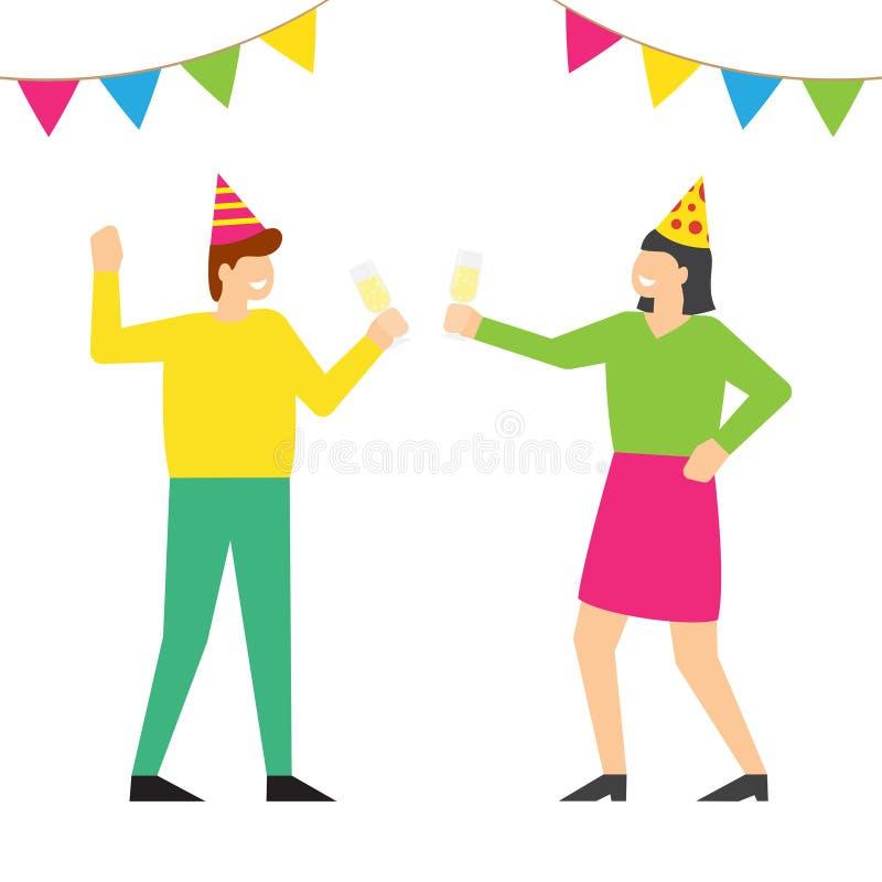 Folk som firar födelsedagpartiet i festliga lock vektor illustrationer