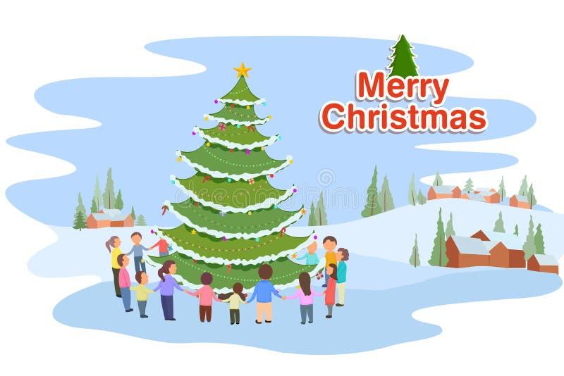 Folk som firar glad jul vektor illustrationer