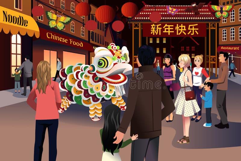Folk som firar kinesiskt nytt år vektor illustrationer